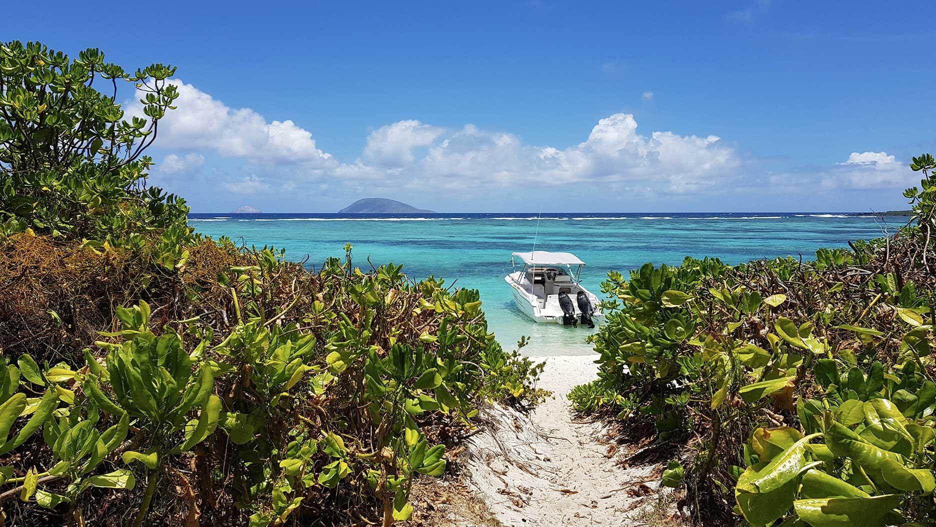 bateau dans l'eau à l'ile plate de l'ile maurice
