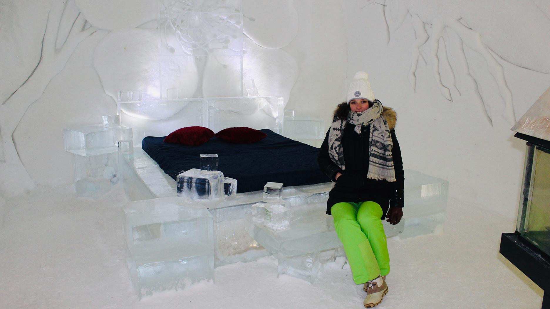 lit en glace à l'hotel de glace