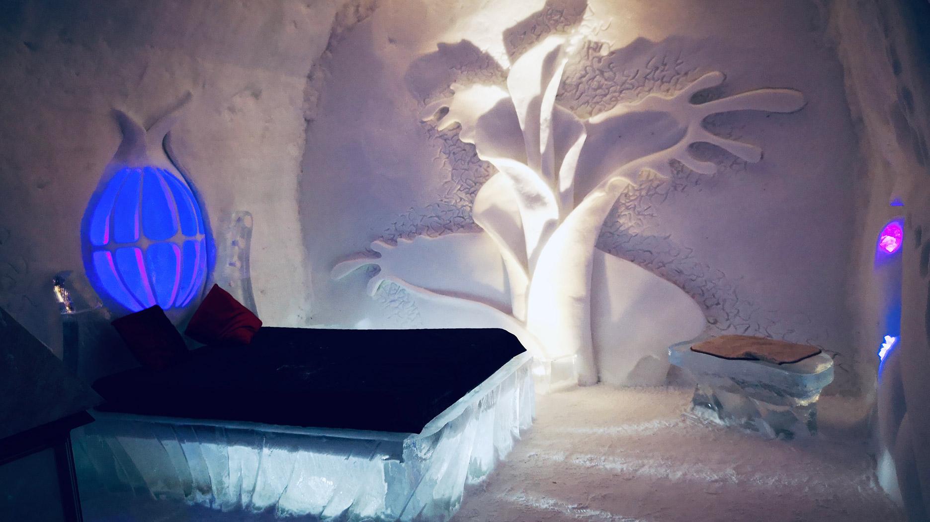 chambre dans l'hotel de glace